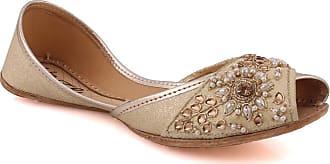 Unze Unze Women Iyana Leather Khussa Punjabi Jutti Indian Handmade Beaded Jamawar Evening Formal Peep Toe Slipper Khussa UK Size 3-8 - UN-203 Gold