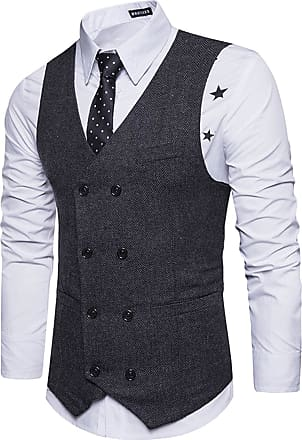 Whatlees Mens Slim Tweed Vest Made of Textured Material with Double-Breasted Button Placket and Textured Tweed