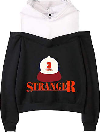 EmilyLe Girls Off Shoulder Hoodie Stranger Things New Season Inspired Long Sleeve Jumper Gifts for Kids (XS, Black Cap)