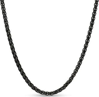 Zales Mens 3.0mm Wheat Chain Necklace in Stainless Steel with Black IP - 24