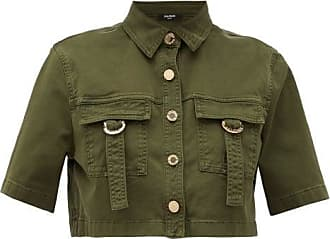 Balmain Military Cropped Cotton-blend Shirt - Womens - Khaki