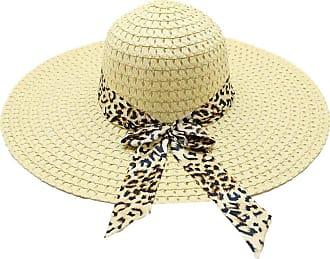 QUINTRA Women Leopard Print Big Brim Straw Hat Sun Floppy Wide Brim Hats Beach Cap Travelling Cap (Light Beige)