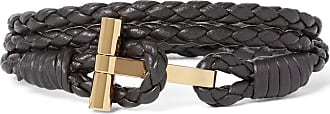 Tom Ford Woven Leather And Gold-plated Wrap Bracelet - Brown