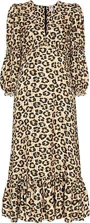 Shrimps Rosemary leopard-print midi dress - Brown