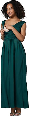 Happy Mama Womens Maternity Nursing Maxi Dress Sleeveless Side Pockets. 012p (Dark Green, UK 12, L)