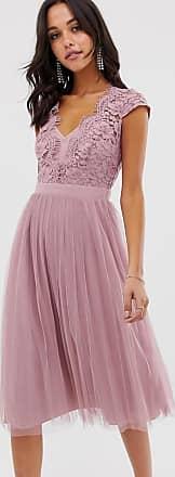 Little Mistress Kanten midi-jurk met kapmouwen en met rok uit tulle-Roze