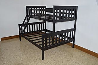 A & L Furniture A & L Furniture 3150BKP Slat Mission Bunkbed, Twin Over Full, Black