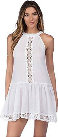 La Blanca Womens High Neck Lace Short Cover Up Dress, White, Extra Large