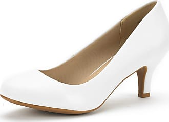 Dream Pairs Womens Slip On Low Kitten Heels Round Toe Pump Court Shoes Luvly White Pu Size 7.5 US/ 5.5 UK