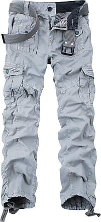 OCHENTA Ochenta mens loose-fit casual trousers water scrubbing cargo pants with multiple pockets made of cotton, 3380 Light Grey, 29