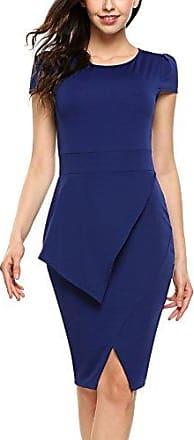 d647d8fa8af42 ACEVOG Damen Elegant Casual Business Kleid Petticoat Etuikleid  Bleistiftkleid Kurzarm Rundhals Knielang Abendkleid Mit Schlitz -