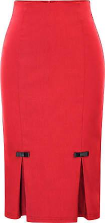 Belle Poque Womens Retro Midi Pure Stretchy Bodycon Split Pencil Skirt Red(587-3) Small