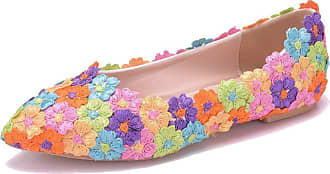 MGM-Joymod Womens Slip-on Pointed Toe Flowers Appliques Casual Bridesmaid Comfortable Flats Bridal Wedding Party Ladies Pumps(Multicolor) 7 M UK