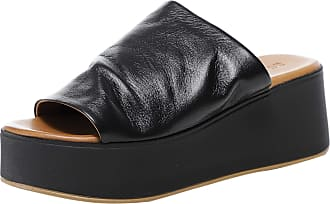 Inuovo Womens Leather Wedge Sliders 4 Black