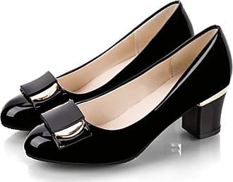 NOADream Women Round Toe Pumps Office Career OL Dress Wedding Shoes Slip on Patent Leather Courts Shoes Block Heel High Heels Black