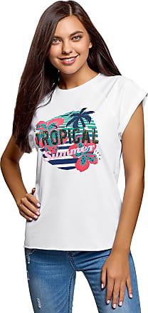 oodji Womens Letter Print Cotton T-Shirt with Raw Hem, White, XXL
