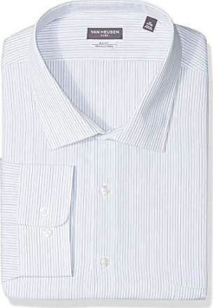 Van Heusen Mens Big and Tall Dress Shirts Big Fit Flex Stripe, Riviera Blue, 19 Neck 34-35 Sleeve
