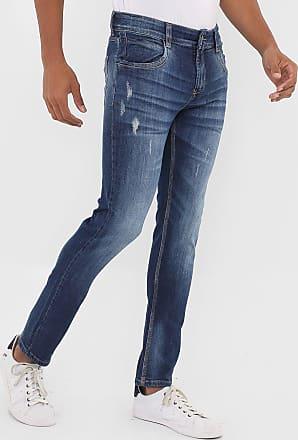 Sawary Calça Jeans Sawary Skinny Destroyed Azul