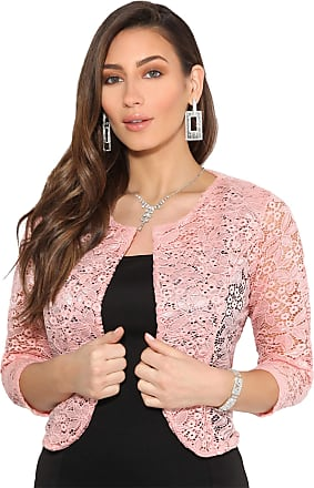 Krisp All Over Lace Crop Evening Shrug (Pink, LXL) 3918-PNK-LXL