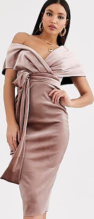 Asos Tall ASOS DESIGN Tall velvet fallen shoulder midi pencil dress with tie detail-Beige
