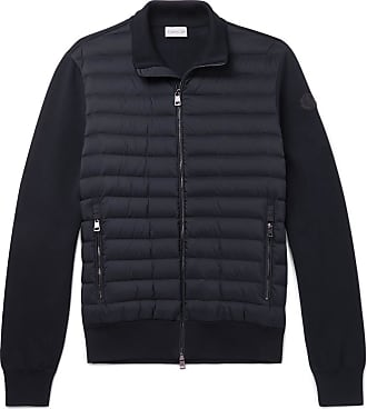 Moncler Slim-fit Panelled Cotton-blend Jersey And Quilted Shell Down Zip-up Sweater - Navy