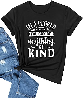 Dresswel Women in A World Where You Can Be Anything Be Kind T Shirt Short Sleeve Crewneck Tops Tees Black