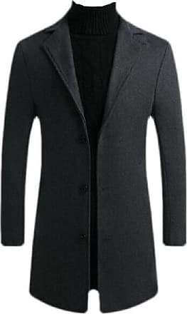 H&E Mens Slim Single-Breasted Woolen Notched Lapel Overcoat Pea Coat Dark Grey Large