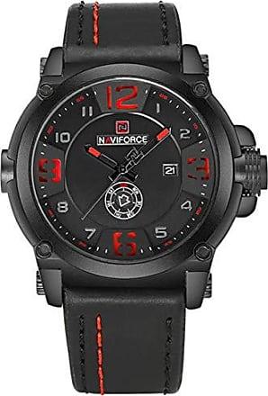 NAVIFORCE Relógio Masculino Naviforce NF9099 BRB Pulseira em Couro - Preto e Vermelho