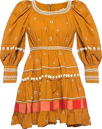 Ulla Johnson Adama Long Sleeve Dress Womens Orange