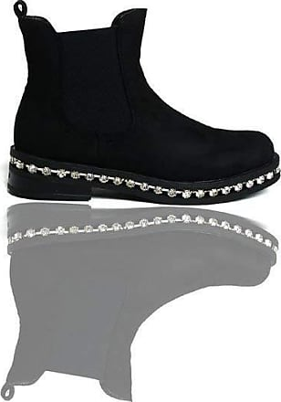 Ikrush Fifi Faux Suede Diamante Chelsea Boots Black S UK 7