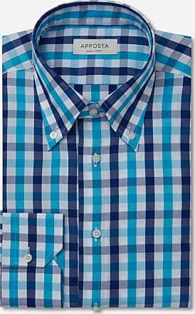 Apposta Camicia quadri grandi multi flanella twill, collo stile collo francese aggiornato a punte corte