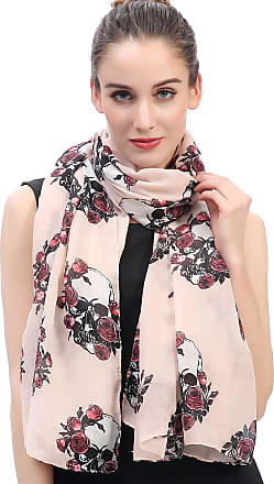 Lina & Lily Skulls and Roses Print Womens Large Scarf (Peach)(Size: 180 X 90 cm)
