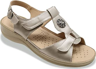 Cushion-Walk Ladies Womens Sandal Twin Opening Sandal Pewter 4 UK