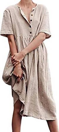 Baumwolle Braun Sundress Frauen Top-Kleidung Tragen Kleid Sommer Tunika