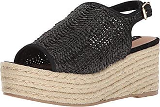 Steven by Steve Madden Womens Courage Wedge Sandal, Black Suede, 8.5 M US