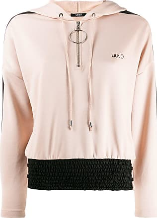Liu Jo brand hoodie with contrasting-panel - Neutrals