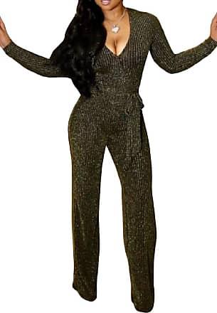 H&E Womens Casual Glitter Long-Sleeve Deep V-Neck Wide Leg Long Rompers Jumpsuits Golden X-Small