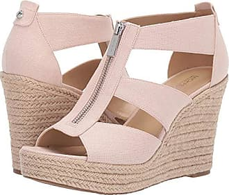 59ff9dcc6 Michael Kors Damita Wedge (Soft Pink Small Weave Canvas/Jute) Womens Wedge  Shoes