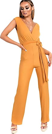 Ikrush Kasia Stripe Belted Stretch Jumpsuit Yellow UK M/L