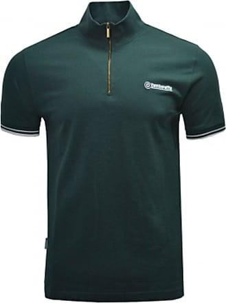Lambretta Polo Shirt Twin Tipped Sleeve 1/2 Zip Cycling Shirt Mens SS3977 S-4XL (Green, UK4XL)