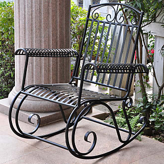 International Caravan Inc Tropico Porch Rocker (Weather Resistant/Water Resistant - Black - High Back - Antique Black - Assembly Required