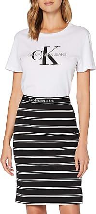 Calvin Klein Jeans Womens Logo Elastic Stripe Milano Skirt, Black, M