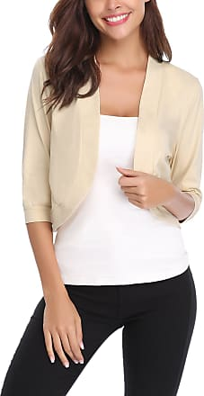 iClosam Women Open Front Short Cardigan 3/4 Sleeve Cropped Bolero Shrug,Khaki,Large