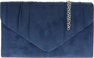 Girly HandBags Girly HandBags Faux Suede Clutch Bag Pleated Design Evening Party Womens - Navy