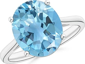 Angara Valentine Day Sale - Oval Solitaire Swiss Blue Topaz Cocktail Ring