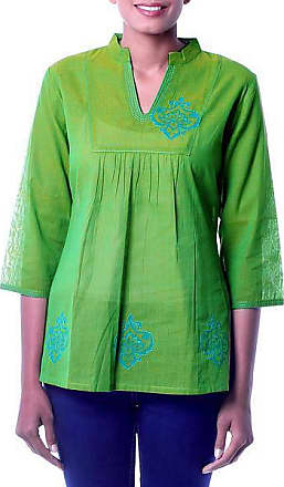 Novica Cotton blouse, Goa Green - Collectible Womens Cotton Embroidered Blouse Top