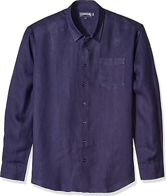 Vilebrequin Mens Solid Linen Shirt-XXXL, Navy