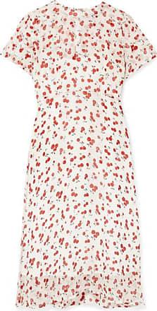 HVN Lindy Printed Crinkled Silk-chiffon Dress - Red