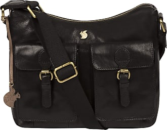 Pure Luxuries London Conkca London Nancie Womens 29cm Biodegradable Leather Shoulder Bag with Zip Over Top, 100% Cotton Lining and Adjustable Webbed Canvas Strap in Black