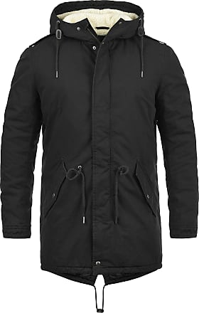 Solid Darnell Mens Parka Outdoor Jacket Winter Coat with Teddy Fleece with Hood Made of 100% Cotton with Teddy Fur Lining, Size:3XL, Colour:Black (9000)